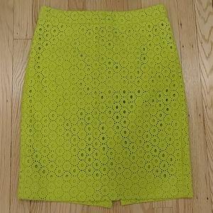 JCrew No2 Pencil Skirt lime green size 0